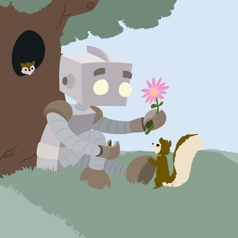 Robo-Friend,8x8,Print,Daisy,flower,friend,geek,nature,Nerd,Robot,squirrel
