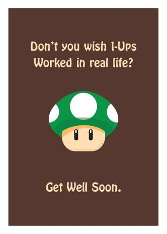 1-Up,Get,Well,Geeky,Greeting,Nerd,get well,card,Mario,game,nintendo,geeky greeting
