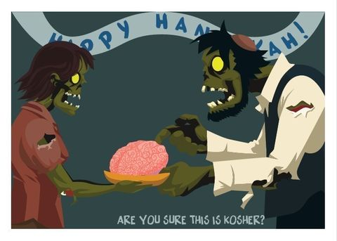 Hanukkah,Kosher,Zombie,Holiday,Card,geekery,Horror,Humor,hannukah,jewish,holiday,magic,religion,brains