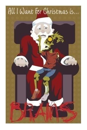 Zombie,X-mas,Wish,Holiday,Card,brains,santa,claus,wish,xmas,holiday