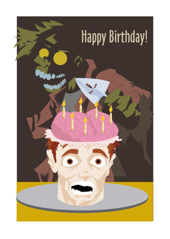 Zombie,Birthday,Cake,Card,art,cake,birthday,card,brains,candle,head