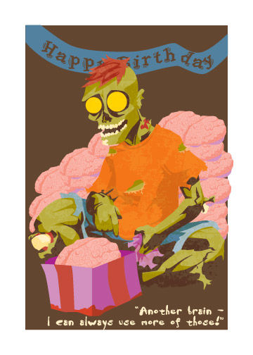 Zombie birthday card brains monkey minion press zombie birthday card brains product images bookmarktalkfo Images