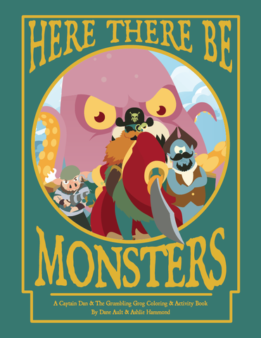 Here,There,be,Monsters,Capt.,Dan,Coloring,Book,kids,art,monsters,pirates,coloring,captain dan