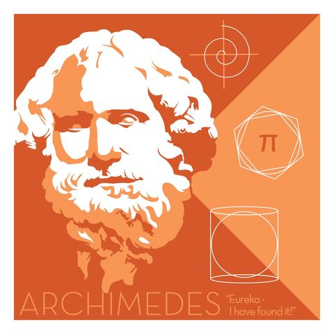 Archimedes,-,Eureka,Giclee,print,giclee, print, science, mary leakey, evolution, fossil, vector art