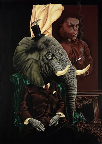 The,Elephant,in,the,Room,by,Julian,Quaye,Signed limited edition print, rabbit, anthropomorphic, low brow