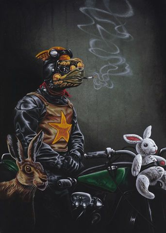 The,Wild,One,-,Mr,Snuggles,Rides,Again,by,Julian,Quaye,Signed limited edition print, rabbit, anthropomorphic, low brow
