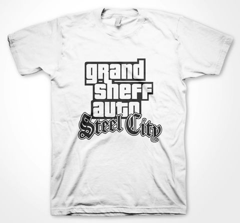 STEEL,CITY,-,SAN,ANDREAS,Sheff, Steel city, sheffield, yorkshire, yorkshire tee, blue, red, white, black, graphic tee, screen print