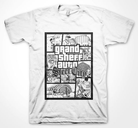 GSA,sheffield, steel city, tee, parody, steel, t-shirt, grand sheff auto, yorkshire tee, two towers, west one, henderson's building, forum, vice, vice city, city, parody fashion, humour tee, humor tee, cotton tee, Gildan brand, retro look, gamers fashion