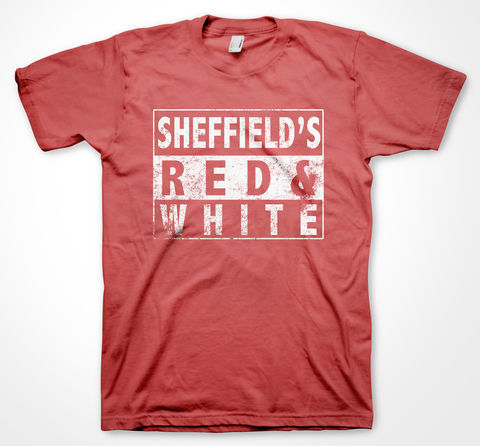 SHEFFIELD'S,RED,&,WHITE,tee, tshirt, yorkshiretee, yorkshire, sheffield, dtg, blades, football, club, ground, team, support, crowd, merchandise, greasy, chip, butty