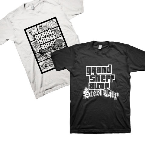 Grand,sheff,Auto,BUNDLE!,sheffield, steel city, tee, parody, steel, t-shirt, grand sheff auto, yorkshire tee, two towers, west one, henderson's building, forum, vice, vice city, city, parody fashion, humour tee, humor tee, cotton tee, Gildan brand, retro look, gamers fashion