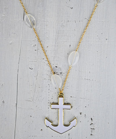 Anchors,Away,anchor, necklace, white, nautical
