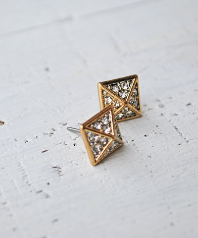 Pyramid,Studs,pyramid, earrings, rhinetsone
