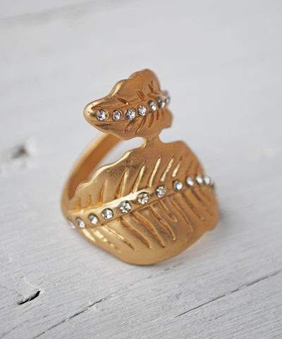 Diamond,Leaf,Ring,leaf ring, gold, rhinestone