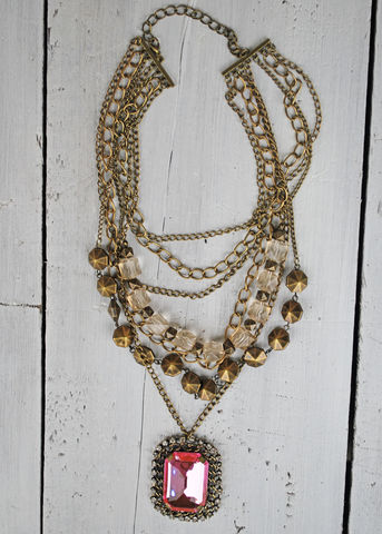 Fancy,In,Pink,pink diamond, chain, necklace, j crew, anthropologie, multi chain necklace