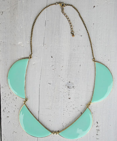 Scallop,Necklace,scallop, half moon, necklace, coral, mint green