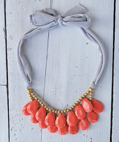 Tiny,Droplets,briolette, anthropologie necklace, coral, bib necklace, blue