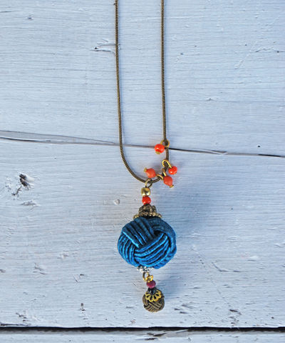 Wrapped,Navy,Pendant,navy, pendant, orange, necklace
