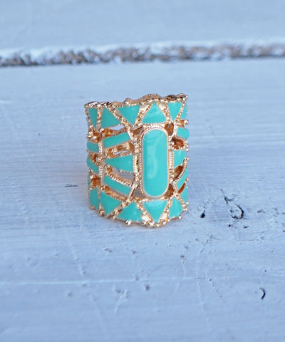 Tres,Chic,Ring,ring, ivory, cream, teal
