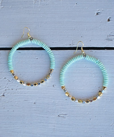 Sunset,Hoops,hoops, teal, navy, mint, earrings