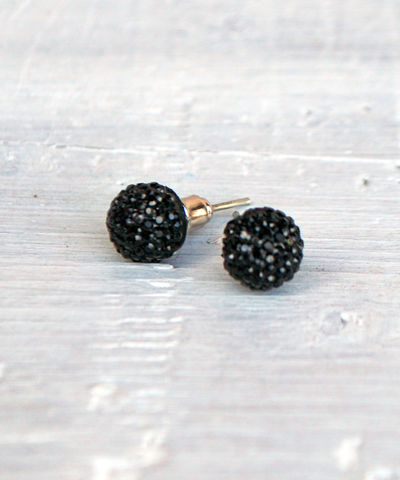 Miniature,Studs,studs, round, ball, earrings, black, white, pink, red, blue