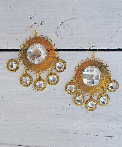Pacific,Moon,Earrings,rhinestone, sunburst, earrings, dangle, chandelier