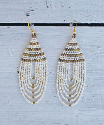Freestyle,Chandelier,Earrings,white, bead, gold, chandelier, tassel, earrings