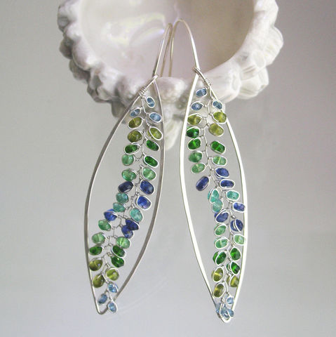 Long,Silver,Ocean,Wave,Gemstone,Hoops,,Elongated,Vine,Earrings,with,Kyanite,Tsavorite,,Vesuvianite,,Emerald,,Chrome,Diopside,,Blue,Topaz,Jewelry,Long_Silver,Ocean_Wave,Gemstone_Hoops,Elongated_Vine,Vine_Earrings,Kyanite_Vines,Tsavorite_Hoops,Vesuvianite_Hoops,Emerald_leaves,Blue_Topaz_Vines,Chrome_Diopside,BellaJewels,Bella_Jewels,argentium sterling silver wire,blue topaz,vesuvian