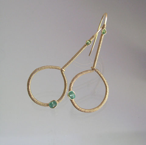 Modern,Gold,Elongated,Hoops,,14k,Filled,Wire,Wrapped,Minimalist,Earrings,with,Emerald,and,Tsavorite,Jewelry,Modern_Gold,Elongated_Hoops,14k_Gold_Filled,Wire_Wrapped,Minimalist_Earrings,Emerald_Hoops,Tsavorite_Dangles,Bella_Jewels,BellaJewels,Gold_Green_Hoops,Modern_Design_Hoops,Wrapped_linear_hoops