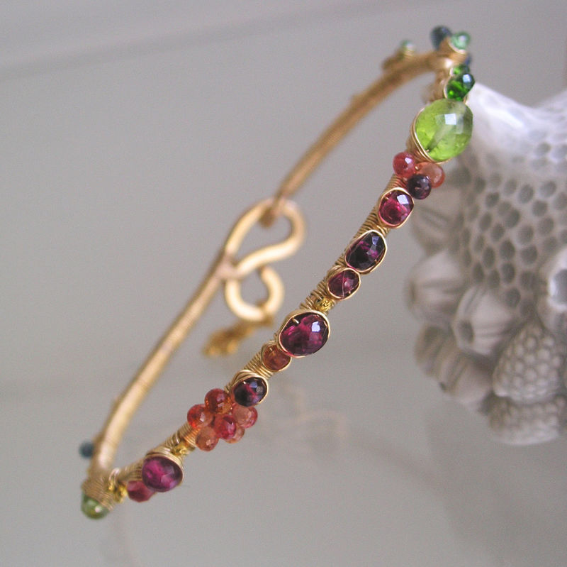 Vibrant Gemstone Bracelet, Gold Filled Bangle, Wire Wrapped, Rainbow, Peridot, Spinel, Sapphire, Tourmaline, Made to Order - product images  of