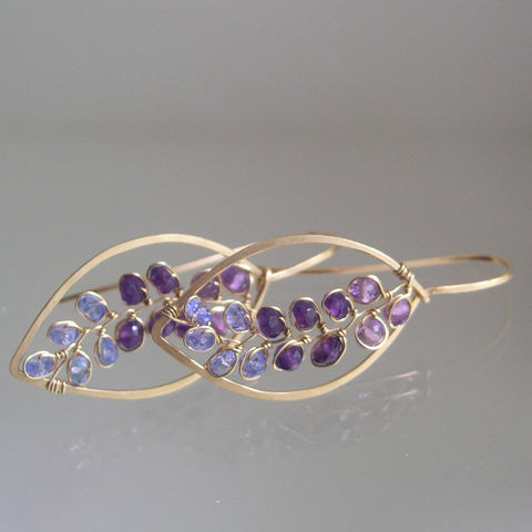 Almond,Shaped,Purple,Gemstone,Leaf,Hoops,with,Amethyst,and,Tanzanite,,Lightweight,14k,Gold,Filled,Earrings,,Made,to,Order,Jewelry,Earrings,Almond_Shaped,Purple_Gemstone,Leaf_Hoops,Gemstone_Hoops,Tanzanite,14k_Gold_Filled,Gold_Earrings,BellaJewels,Twilight_Earrings,Purple_Leaf_Hoops,Everyday_Earrings,14k Gold Filled Wire
