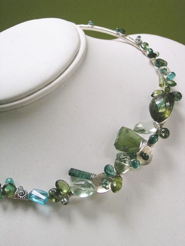 Sterling Sculptural Tourmaline Statement Collar, Gemstone Necklace in Argentium with Blue and Green Sapphires, Prasiolite, Apatite - product images  of