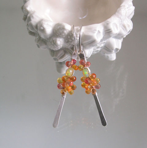 Orange,Sapphire,Sterling,Linear,Earrings,,Lightweight,Silver,Dangles,with,Opals,Jewelry,Earrings,orange_sapphire,sterling_linear,linear_earrings,lightweight_silver,silver_dangles,opal_dangles,bellajewels,bella_jewels,artist_made,linear_sapphire,orange_silver,slender_gem_dangles,opal_stems,argentium sterling silver wire,gemstones,sapp