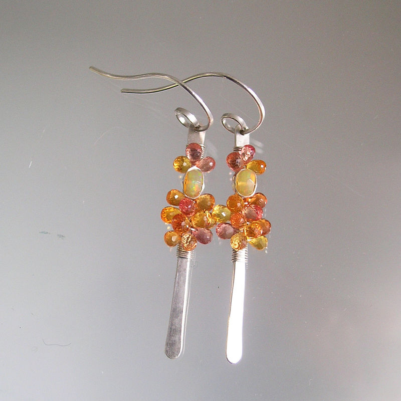 Orange Sapphire Sterling Linear Earrings, Lightweight Silver Dangles with Opals - product images  of