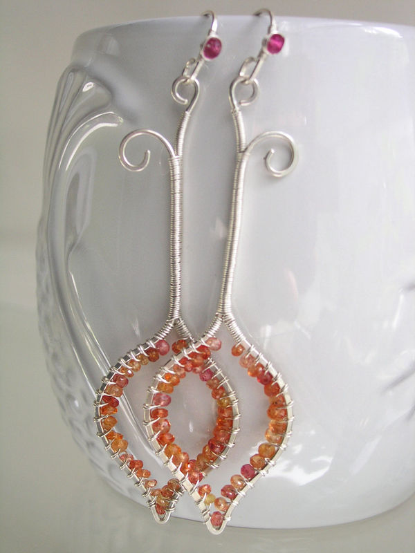 Long Sterling Silver Linear Earrings with Orange Sapphires, Wire Wrapped Elongated Gemstone Rimmed Dangles - product images  of