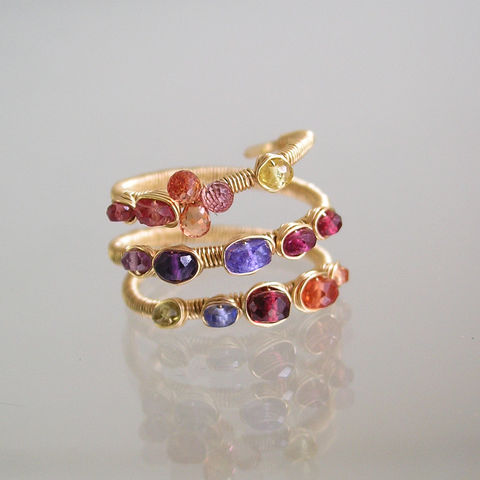 Multi,Gemstone,14k,Gold,Filled,Ring,,Wire,Wrapped,Ring,with,Sapphire,,Red,Spinel,,Tanzanite,,Amethyst,,Size,6,Jewelry,sapphire,amethyst,tanzanite,spinel,14k gold filled wire,pink tourmaline,gemstones,Size 6,BellaJewels,Bella Jewels,twilight gem ring,wraparound ring