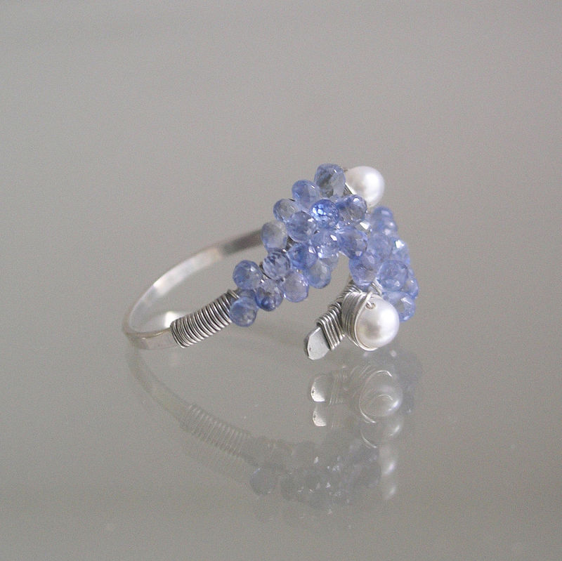 Light Blue Sapphire Sterling Silver Ring with Pearls, Wire Wrapped Cocktail Ring, Dramatic and Statement Making, 8 - 9 - product images  of