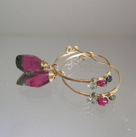Deep,Pink,Tourmaline,14k,Gold,Filled,Hoops,,Lightweight,Gemstone,Earrings,with,Green,and,Tourmaline,,Sapphires,Jewelry,Deep_Pink,14k_Gold_Filled,Gold_Filled_Hoops,Tourmaline_Hoops,Lightweight_Gemstone,Gemstone_Earrings,Lightweight_Earrings,Green_and_Pink,Green_Sapphires,BellaJewels,Watermelon,Wire_Wrapped_Hoops,14k gold filled wire,watermelon t