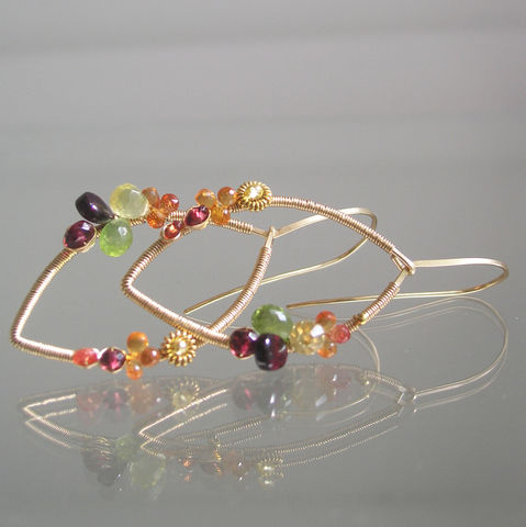 Multi,Gemstone,Leaf,Hoops,,Lightweight,14k,Gold,Filled,Earrings,with,Sapphire,and,Spinel,,Peridot,,Garnet,Jewelry,Multi_Gemstone,Leaf_Hoops,Lightweight_Earrings,Sapphire_Leaf_Hoops,Spinel_Hoops,Peridot_Earrings,Garnet_Earrings,Wire_Wrapped,Modern_Design,Bella_Jewels,BellaJewels,Colorful_Earrings,14k_Gold_Filled,14k gold filled wire,tiny vermeil beads