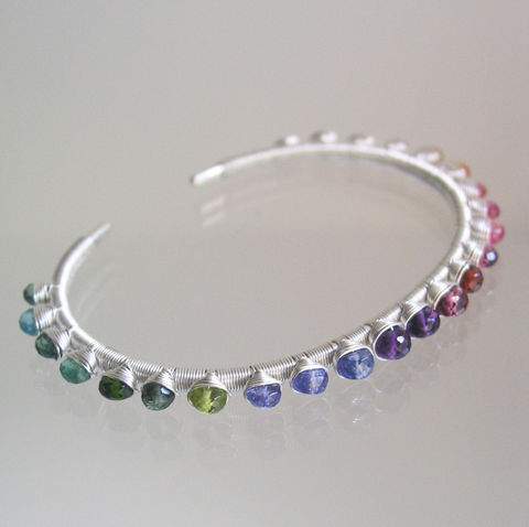 Multi,Gemstone,Sterling,Cuff,,Wire,Wrapped,Silver,Rainbow,Bracelet,with,Tanzanite,,Tourmaline,,Amethyst,,Emerald,Jewelry,Multi_Gemstone,Sterling_Cuff,Colorful_Gems,Tanzanite_Cuff,Tourmaline_Cuff,Amethyst_Cuff,Emerald_Cuff,Wire_Wrapped,Wire_Bracelet,Bellajewels,Rainbow_Cuff,Silver_Rainbow,Rainbow_Bracelet,lemon quartz,spessartite,pink ruby,garnet,amethyst,ta