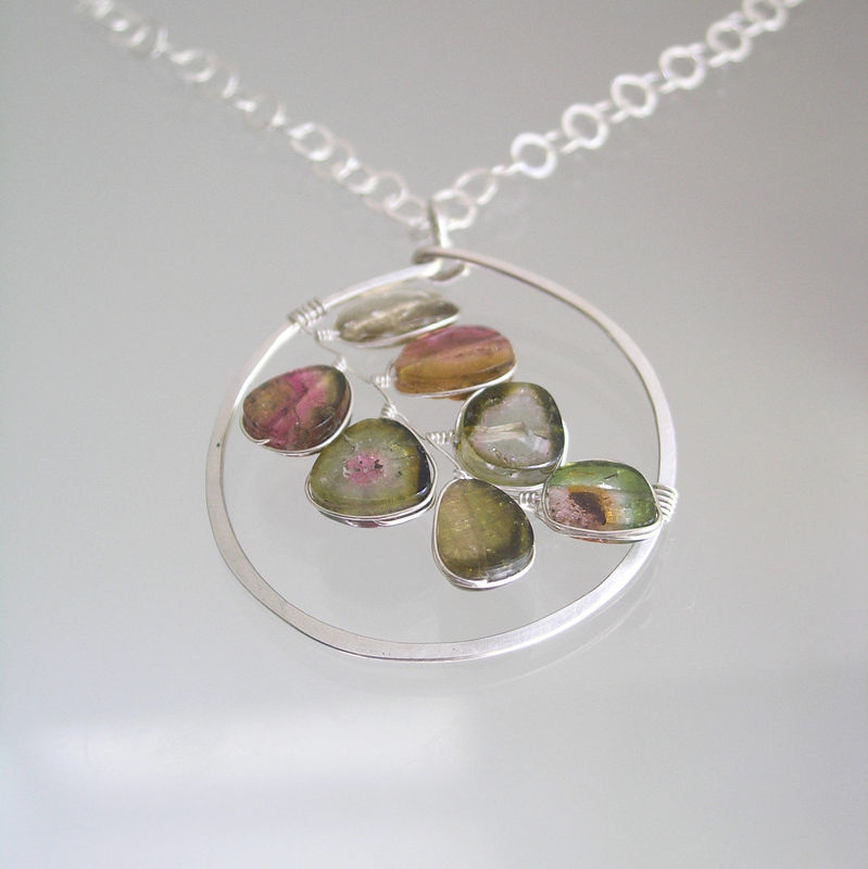 Watermelon Tourmaline Sterling Wire Wrapped Pendant, Mod Design Colorful Gemstone Circle Necklace - product images  of