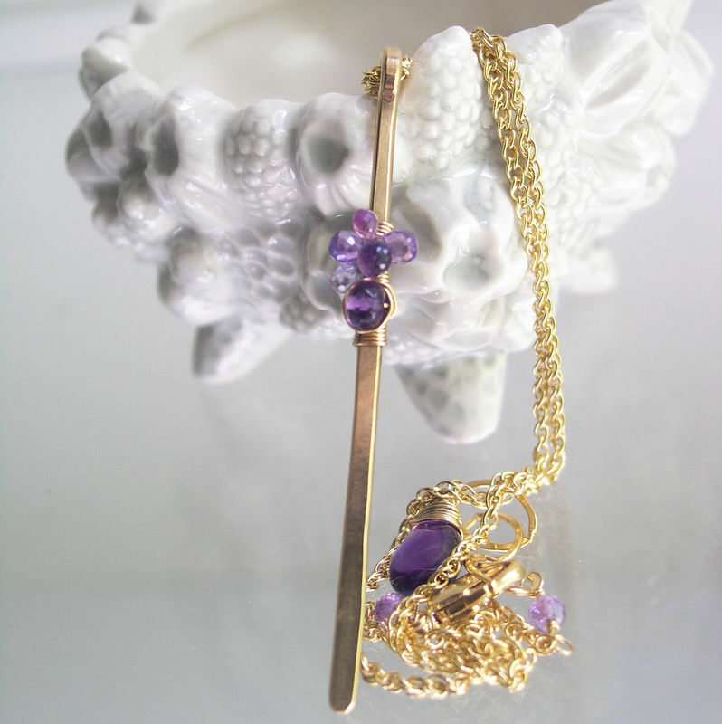 Purple Sapphire Linear Pendant in 14k Gold Fill with Amethyst, Minimalist Modern Design Necklace - product images  of