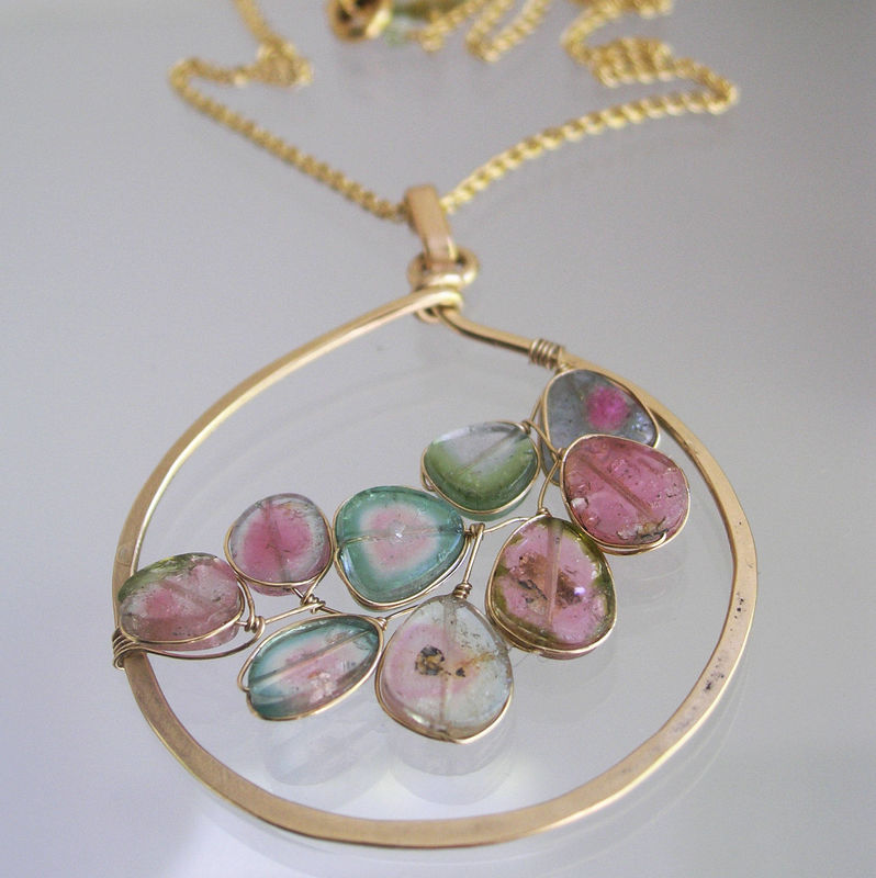Watermelon Tourmaline Pendant, 14k Gold Filled Circle Necklace with Wire Wrapped Tourmaline Vine - product images  of
