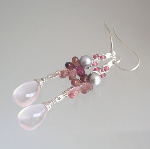 Pink,Tourmaline,Sterling,Linear,Earrings,with,Rose,Quartz,Dangles,and,Pearls,,Wire,Wrapped,Gemstone,Stems,Jewelry,Pink_Tourmaline,Sterling_LInear,Linear_Earrings,Rose_Quartz_Dangles,Pearls_Earrings,Wire_Wrapped,Gemstone_Stems,Rose_quartz_Earrings,Tourmaline_Earrings,BellaJewels,Bella_Jewels,Bridal_Earrings,Pink Tourmaline,argentium sterling silver wi