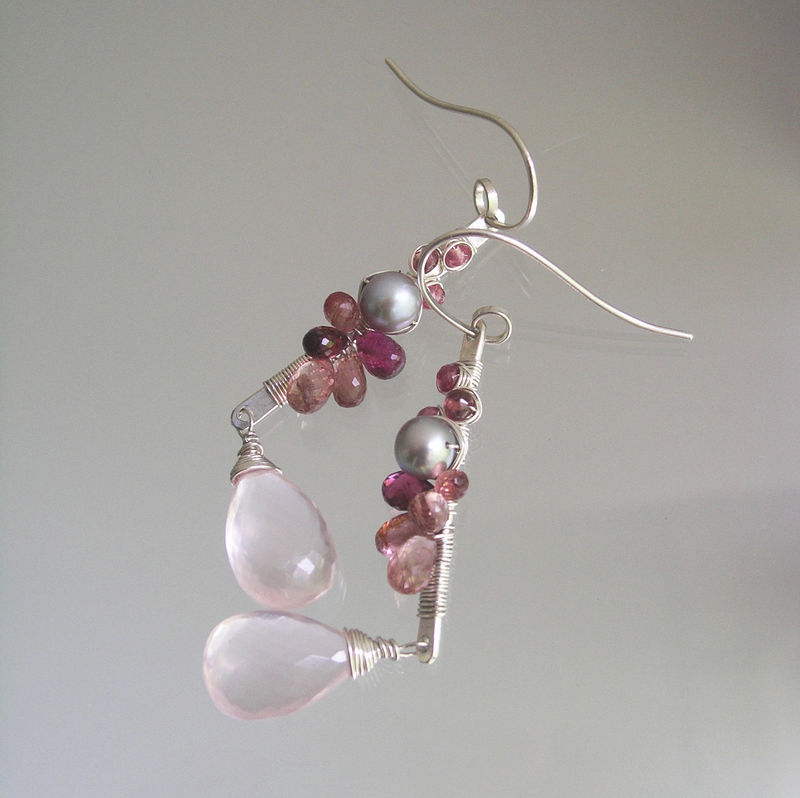 Pink Tourmaline Sterling Linear Earrings with Rose Quartz Dangles and Pearls, Wire Wrapped Gemstone Stems - product images  of