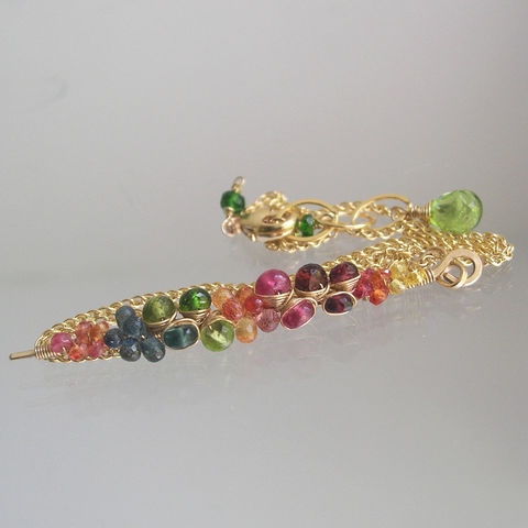 Rainbow,Gemstone,Encrusted,Linear,Stem,Pendant,,14k,Gold,Filled,Necklace,with,Sapphires,,Amethyst,,Chrome,Diopside,,Peridot,,Apatite,Jewelry,Rainbow_Gemstone,Encrusted_Linear,Stem_Pendant,14k_Gold_Filled,Gold_Filled_NEcklace,Sapphire_Pendant,Amethyst_Pendant,Peridot_Pendant,Chrome_Diopside_Stem,Rainbow_Pendant,BellaJewels,Bella_Jewels,Artisan_Made_Pendant,14k Gold Filled Wire
