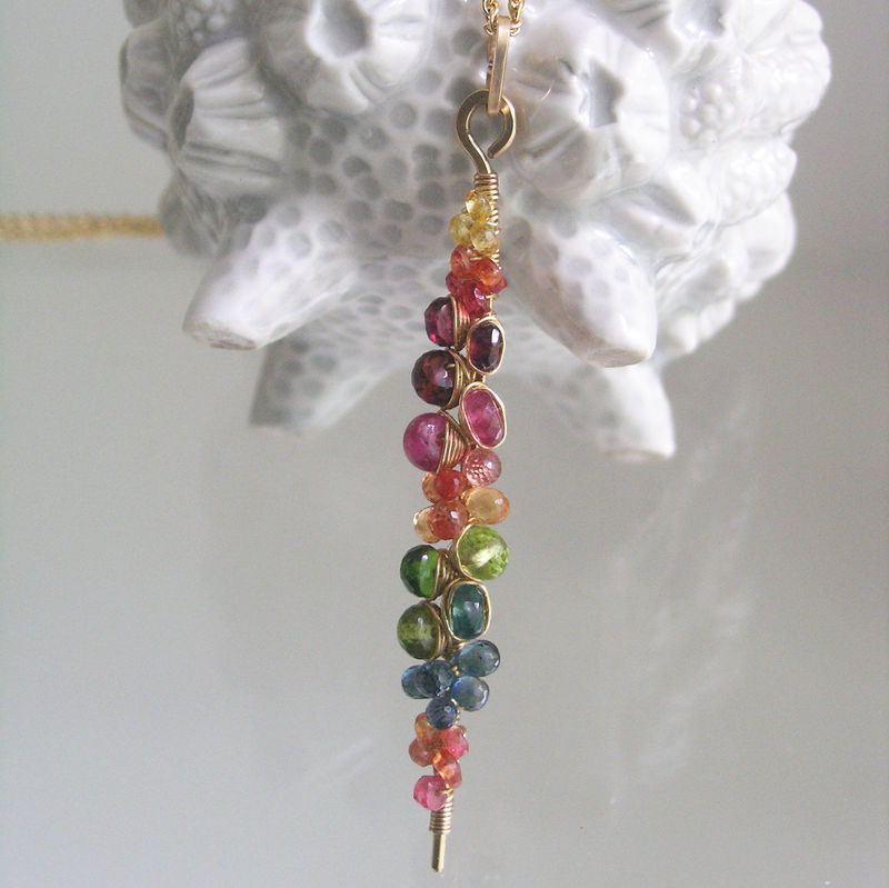 Rainbow Gemstone Encrusted Linear Stem Pendant, 14k Gold Filled Necklace with Sapphires, Amethyst, Chrome Diopside, Peridot, Apatite - product images  of