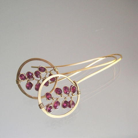 Garnet,Drop,Hoops,,14k,Gold,Filled,Linear,Lightweight,Earrings,with,Gemstone,Vines,Jewelry,Garnet_Drop_Hoops,14k_Gold_Filled,Gold_Filled_Earrings,Gemstone_Vines,Artisan_Made,Bella_Jewels,BellaJewels,Red_Gem_Hoops,Garnet_Vine_Hoops,Handwrought_Hoops,Red_Gem_Earrings,Linear_Earrings,14k Gold Filled Wire,Garnets