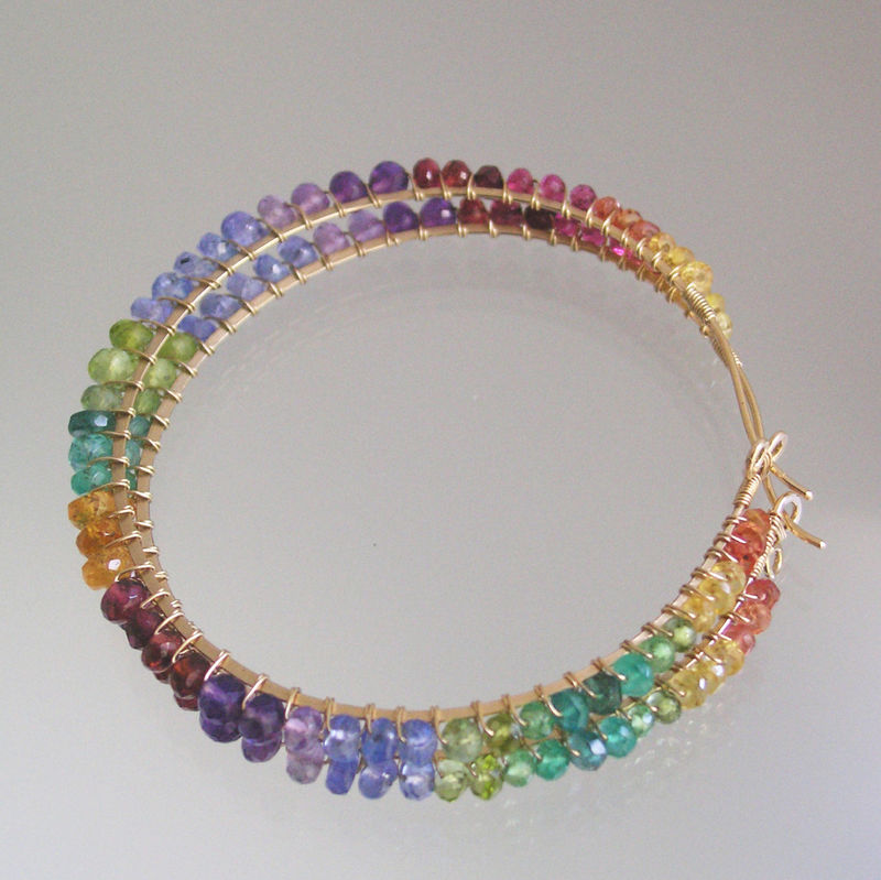 Rainbow Gemstone 14k Gold Filled Hoops, Large Multi Gem Wire Wrapped ...