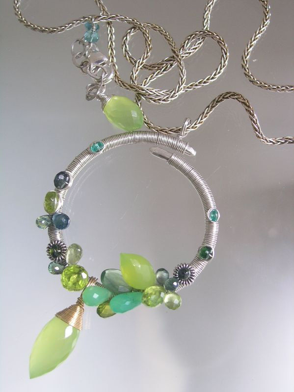 Sterling Circle Pendant Wire Wrapped with Lime Chalcedony, Green Chyrsoprase, Blue Sapphire, - product images  of