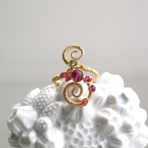Multi,Gemstone,14k,Gold,Filled,Spiral,Ring,with,Pink,Tourmaline,,Spinel,,Vesuvianite,,and,Sapphire,,Size,4,Jewelry,Gold_Filled_Spiral,Spiral_Ring,Pink_Tourmaline,Spinel_Ring,Vesuvianite_Ring,Multi_Gemstone_14k,Gemstone_Gold_ring,Multi_Gemstone_Ring,Spiral_Gold_Ring,Sapphire_Ring,Scrolled_Gold_Ring,Bellajewels,Bella_Jewels,14k Gold Filled Wire,Gemstones,Ve
